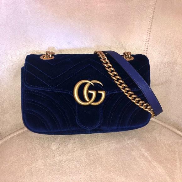 a815bb998151 Gucci Bags | Authentic Gg Blue Marmont Mini Velvet Purse | Poshmark